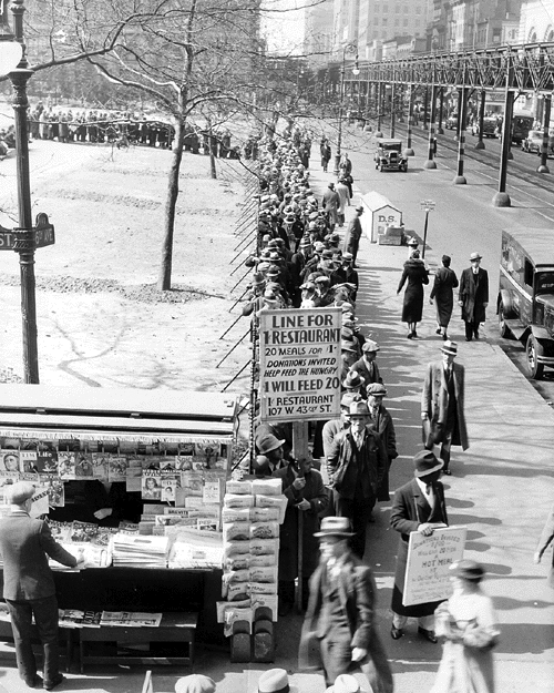 Hunger Line on 6th Avenue & 42nd Street, H.W. Felchner, FDR Library, 1932 (New Deal Network)