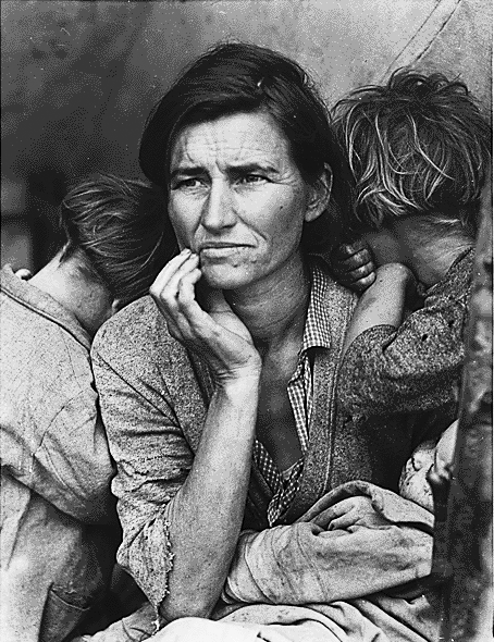 Destitute Pea Pickers in California, Dorothea Lange, Library of Congress, 1936