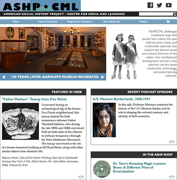 ASHP front page, showing screenshot from the Lost Museum