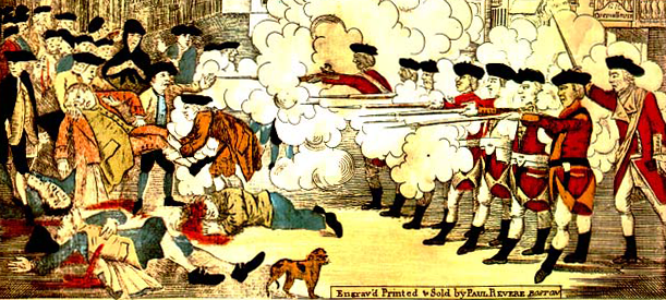 "A detail from Paul Revere's 1770 print, ""The Bloody Massacre."""