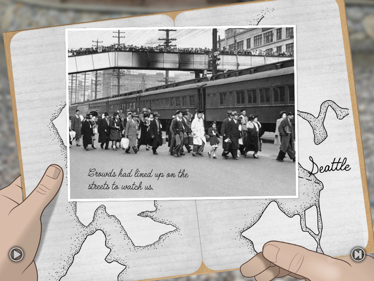 Mission 6 image. Japanese Americans forced to leave Bainbridge Island. Crowds lined up to watch.
