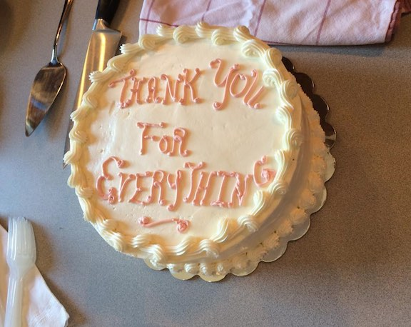 Cake baked by TAH teacher Eve Creary for final TAH seminar on August 19, 2014